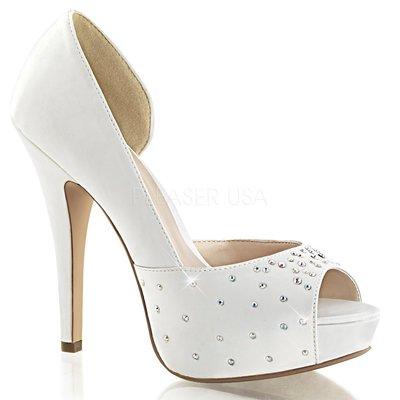 Shoes InStyle《五吋》美國品牌 FABULICIOUS 原廠正品水鑚緞面厚底高跟魚口鞋 出清特價『象牙白色』