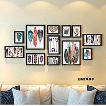 羽毛與萌鹿 北歐裝飾畫現代簡約客廳沙發背景牆畫組合相框照片牆(4組可選)