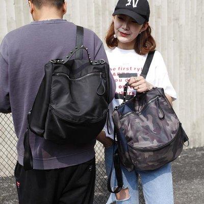 春新款韓版潮流拼色男時尚兩用迷彩背包後背包牛津帆布   全館免運