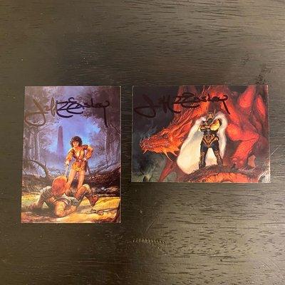 1995 FPG JEFF EASLEY 美國藝術家 親筆簽名 收藏卡 卡片 共2張