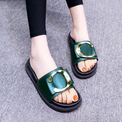夏時尚外穿涼拖鞋平底半拖鞋女2018新款厚底防滑沙灘鞋子 sxx2205