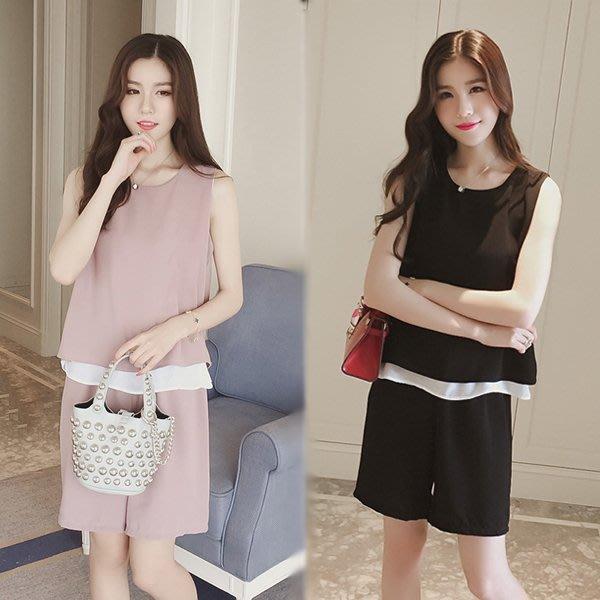 預購-新款韓版夏季孕婦時尚闊腿短褲雪紡寬鬆套裝
