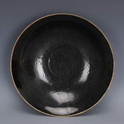 ㊣姥姥的寶藏㊣ 宋定窯黑定雕刻嬰戲圖包金邊大號碗  出土文物古瓷器古玩古董收藏