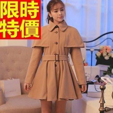 斗篷外套 披風-收腰顯瘦中長版翻領純色女外套2色65n31[獨家進口][巴黎精品]