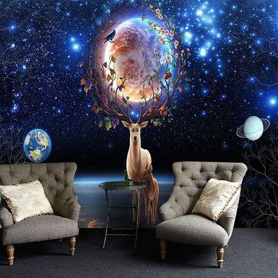 @飛貓小鋪 6d北歐森林麋鹿墻紙夢幻星空壁畫客廳臥室電視背景墻布咖啡廳壁紙