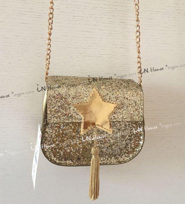 IN House* 歐美 女童 親子 閃亮 造型 星星 金蔥 流蘇 迷你 單肩包 鍊條 鏈條包 斜背包 零錢包