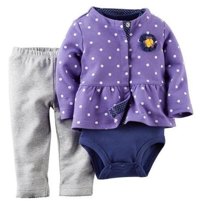 【USA美國精品時尚小舖】Carters 卡特 美國正品 女寶寶短袖包屁衣+長褲+可愛點點外套 三件組套裝