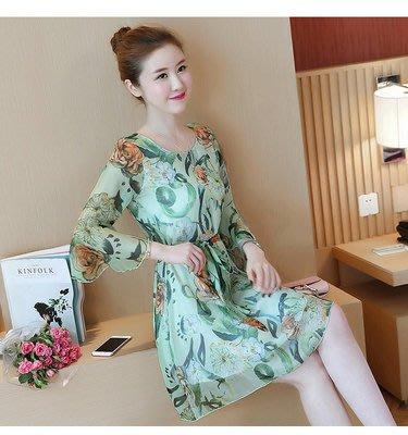 2017夏季新款韩版女装修身显瘦绑带中长款气质印花喇叭袖连衣裙