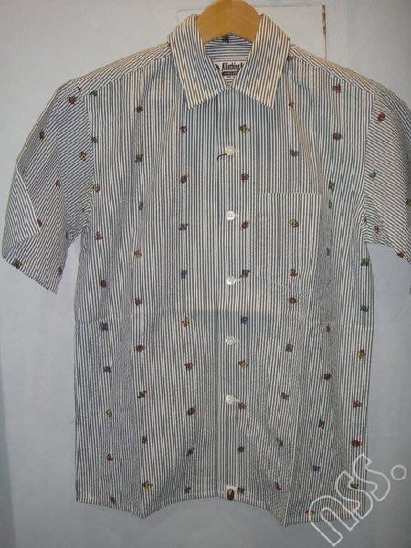 特價【NSS】A BATHING APE BAPE 條紋 短袖 襯衫 S