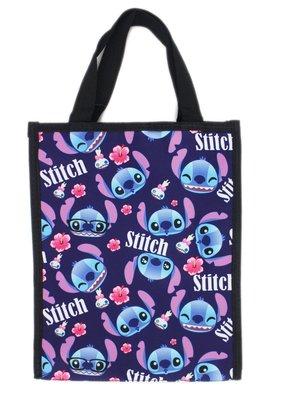 【卡漫迷】 Stitch 手提袋 黑色 滿版 ㊣版 星際寶貝 史迪奇 餐袋 便當袋 手提包 防水 禮物袋 才藝袋 肩背包