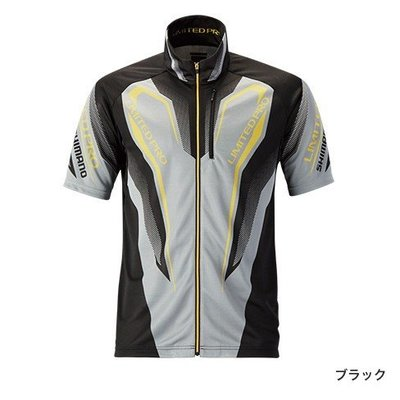SHIMANO SH-012R WICK-TEX℃全拉式短袖釣魚衫防曬抗UV速干涼感 黑色