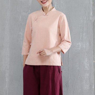 (老銀屋)中國風經典復古盤扣棉麻禪風上衣