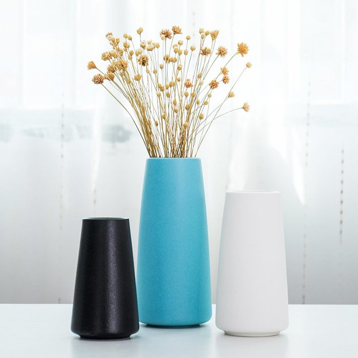 爆款現代簡約陶瓷藍色花瓶小清新干花插花水培花器宜家客廳餐桌面擺件#簡約#陶瓷#小清新