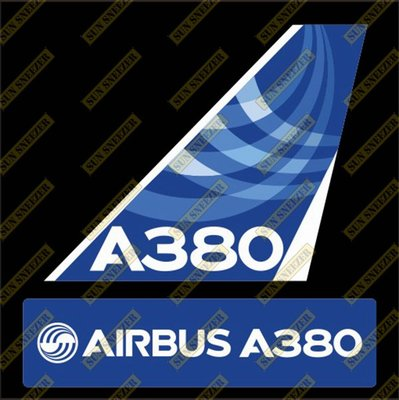 AIRBUS 空中巴士 A380 Logo 出廠塗裝 垂直尾翼 3M防水貼紙 尺寸上63x86mm 下 23x90mm