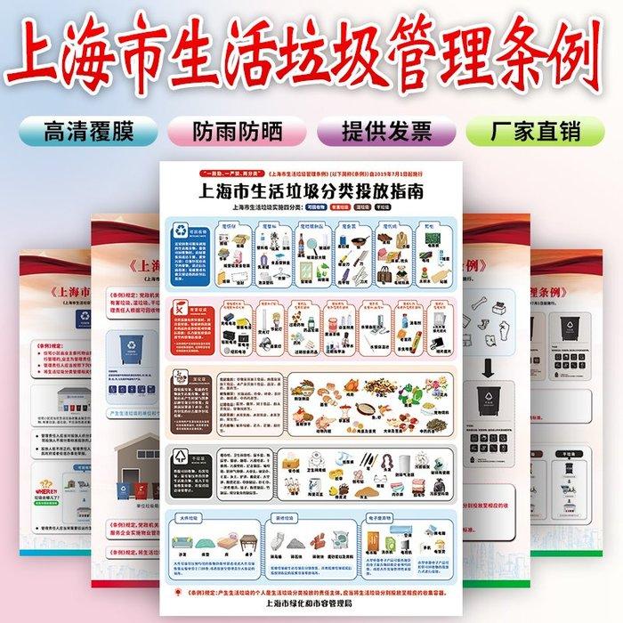 聚吉小屋 #上海生活分類管理條例圖上海市垃圾分類標識貼紙干濕指示可回收標示提示牌投放指引指南宣傳海報圖標掛圖標語