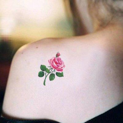 【萌古屋】帶葉玫瑰單圖326 - 男女防水韓風簡約紋身貼紙刺青貼紙K13