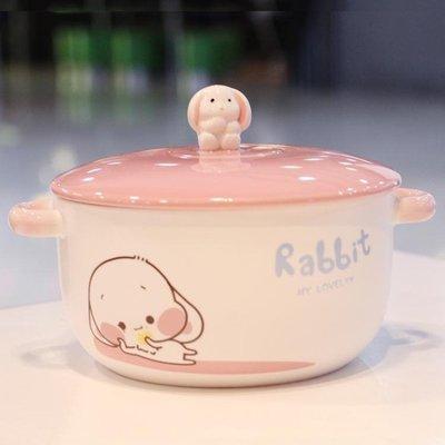 【全館免運】創意卡通泡面碗帶蓋有蓋陶瓷...