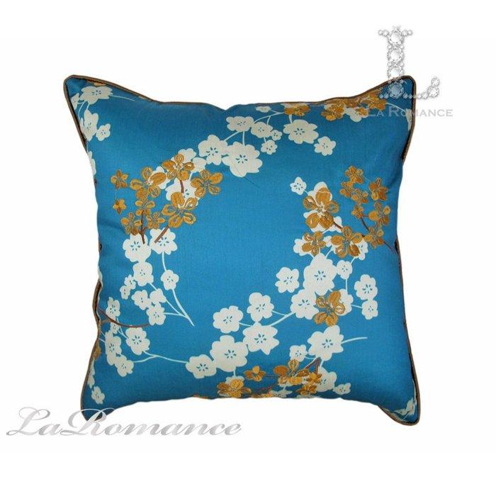 【芮洛蔓 La Romance】東方雅韻系列孔雀藍梅花刺繡抱枕 / 靠枕 / 靠墊 / 方枕