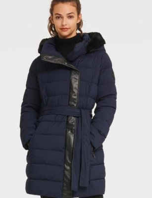 DKNY Alternate view of the BELTED PUFFER WITH FAUX FUR TRIMM