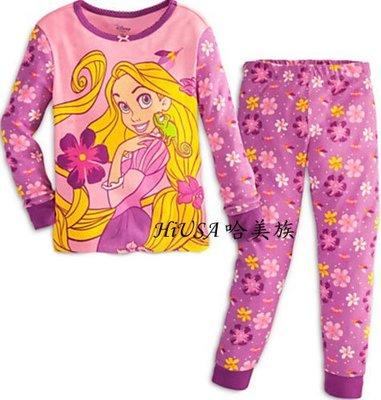 哈美族 美國 Disney 迪士尼 長髮公主 粉紫花朵 純棉 長袖 2件式 套裝/睡衣/家居服/冷氣衫 4-10號