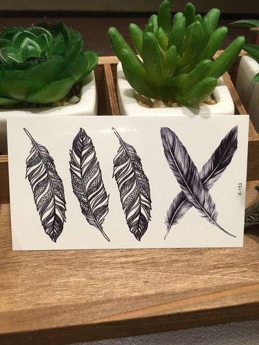 【萌古屋】X系列黑色羽毛X-153 - 男女防水韓風簡約紋身貼紙原宿刺青貼紙