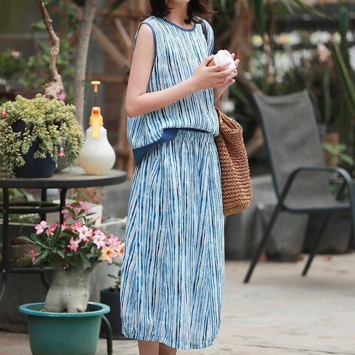 【鈷藍家】棉麻臆想 文藝夏季輕薄色織亞麻條紋中長裙鬆緊腰半身裙