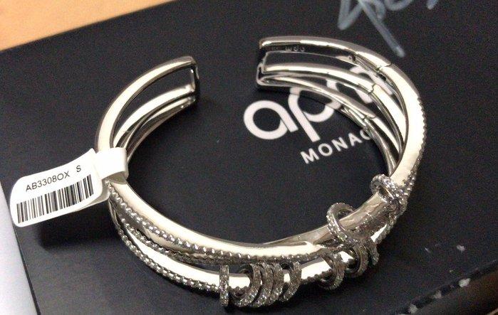 安安精品~保證正品APM Monaco Angela baby 同款 925純銀 穿孔三圈手鐲 AB3308OX