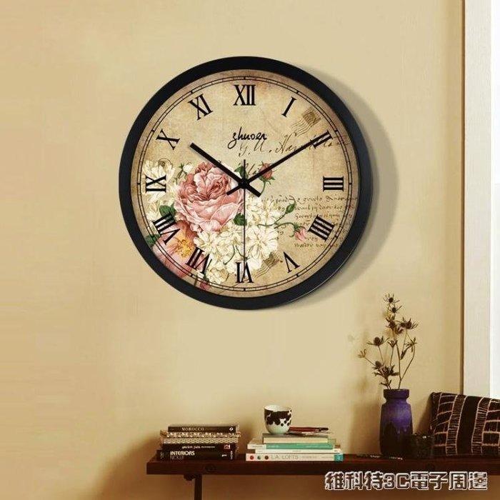 掛鐘 美式鐘錶客廳復古掛鐘歐式靜音石英鐘創意個性簡約現代掛錶圓形