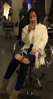 韓國連線仿皮白色流蘇外套(降價500出售