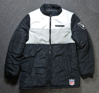 Cover Taiwan 官方直營 Raiders NFL 突擊者 鋪棉 羽絨衣 拼接撞色外套 嘻哈 黑色 (預購)