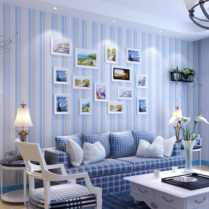 預售款-LKQJD-海民客廳臥室墻紙現代簡約3D立體地中海無紡布壁紙條紋撒銀加厚