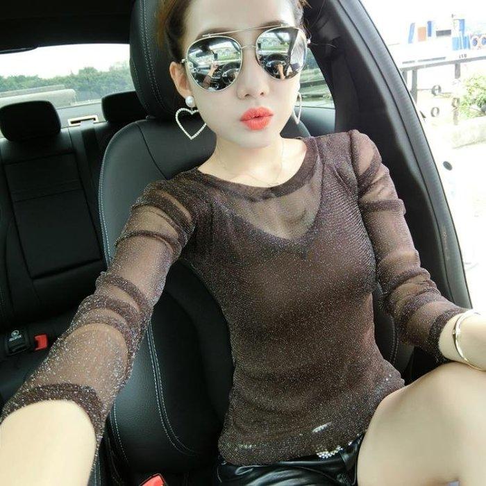 長袖t恤女韓版新款秋裝歐貨打底衫顯瘦網紗上衣時尚洋氣小衫