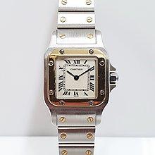 送禮禮物禮品 CARTIER 卡地亞 SANTOS山度士 半金 錶徑23x24不含龍頭 羅馬白面 大眾當舖 編號9404