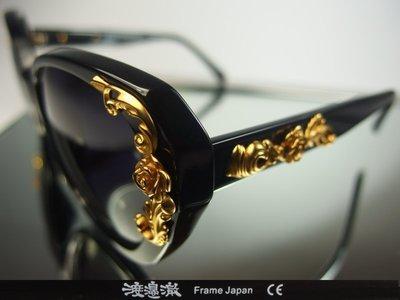 信義計劃 眼鏡 渡邊徹 4167-A 太陽眼鏡 黑色 膠框 粗框 立體箔金 玫瑰 sunglasses