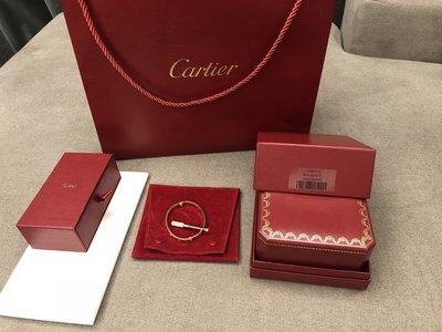 Cartier 卡地亞 Love 系列 真愛 玫瑰金鑽石手環 17