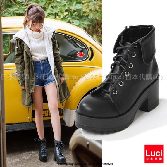 軍靴 綁帶短靴 率性男友風軍裝風綁帶 粗跟厚底高跟短靴 LUCI日本代購 [gd569aq]