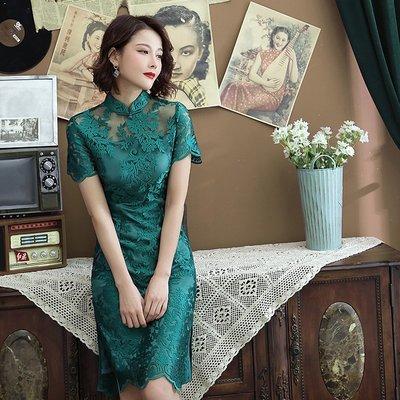 星星小店旗袍2021年新款中國風改良版年輕款少女蕾絲連衣裙短款氣質春夏季