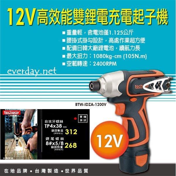 (永展) 鐵克威 Techway 充電式 衝擊起子機 12V 附雙鋰電池 充電起子機 充電電鑽 充電板手機 電動板手機