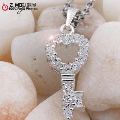 閃鑽銀飾品愛心鑰匙短項鍊 愛情誓約 精美設計 單條價【ASR073】Z.MO鈦鋼屋