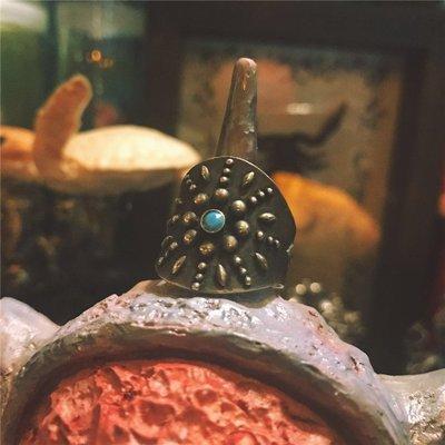 梵玉善緣 きめ天然松石とPOW-WOW 代官山銀鱚工坊925純銀戒指 指環