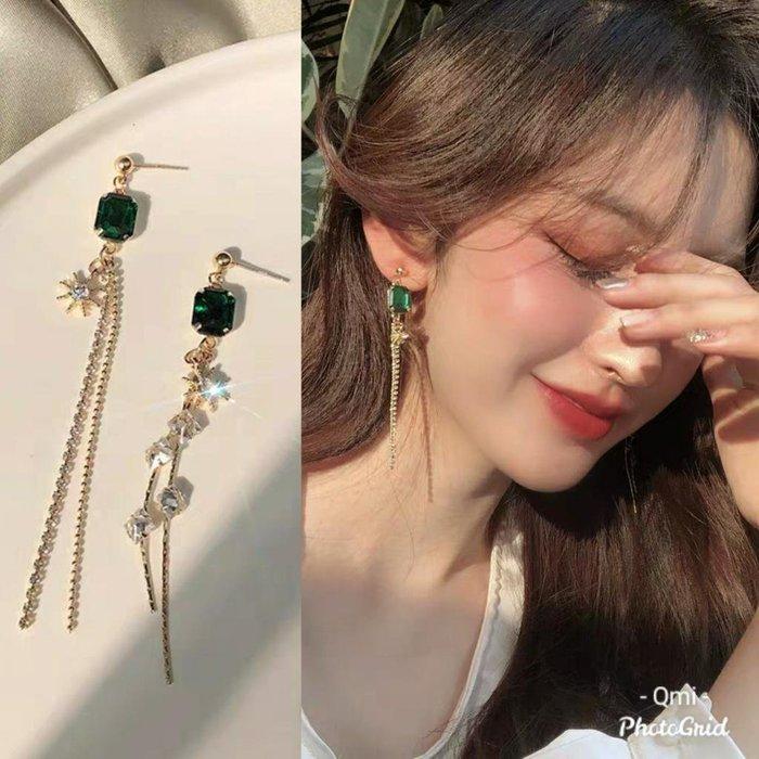 Qmi 韓國長款氣質流蘇祖母綠寶石輕奢耳環S925銀針