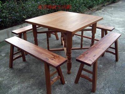 A016 {崙頂傳統原木家具行}~實木合桌+杉木板凳購買多組多張有優惠~接受訂做 訂色