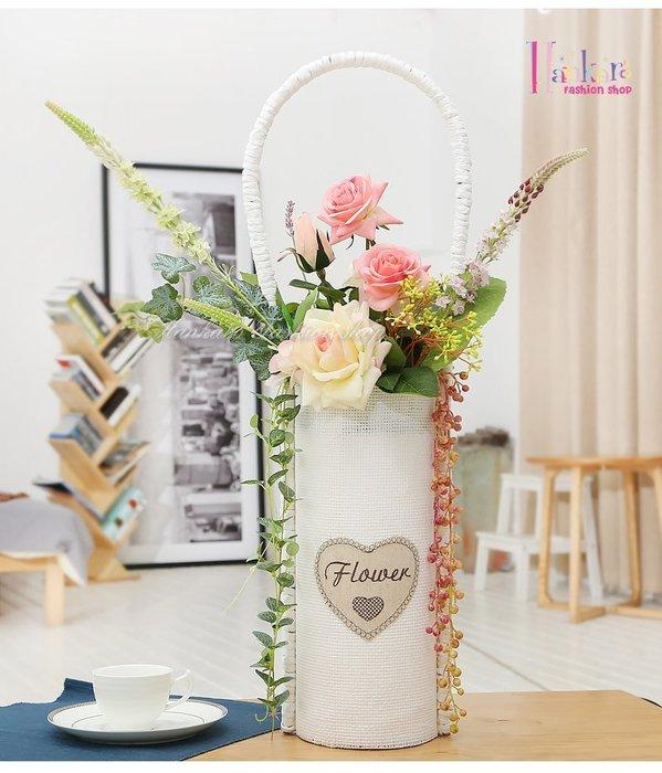 ☆[Hankaro]☆ 田園風格大型麻布手提花籃白色玫瑰仿真花插花室內擺飾