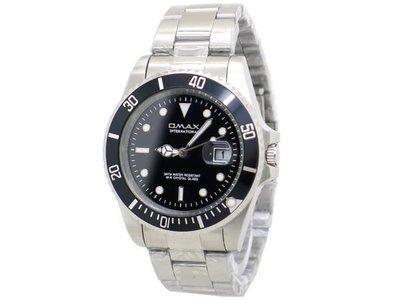 《時光流域》OMAX 歐瑪士 經典水鬼王(日期窗)可旋轉框 不鏽鋼石英錶/ 男錶-黑