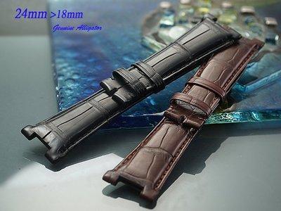 【時間探索】進口純正鱷魚皮-Patek Philippe Nautilus 百達翡麗-金鷹 代用進口高級錶帶 24mm
