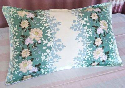 薄荷綠花花枕頭套