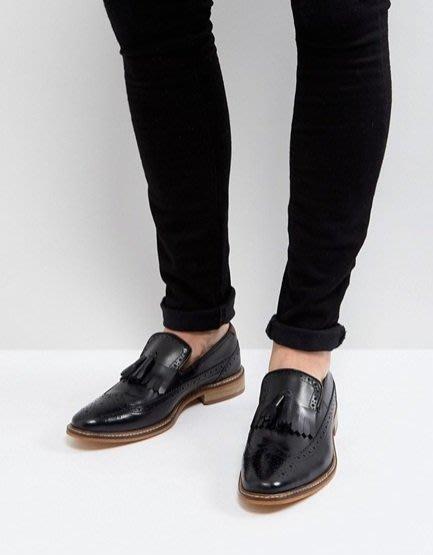 ◎美國代買◎ASOS巴洛克雕花流蘇裝飾鞋面英倫雅痞紳士風無鞋帶巴洛克流蘇皮鞋~歐美街風~大尺碼