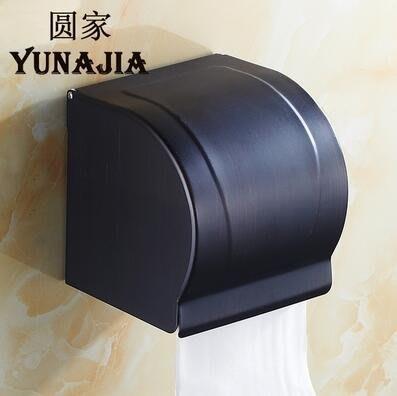 【優上】歐式全銅仿古紙巾盒防水廁紙架復古捲紙器封閉式掛牆壁黑色102紙巾盒