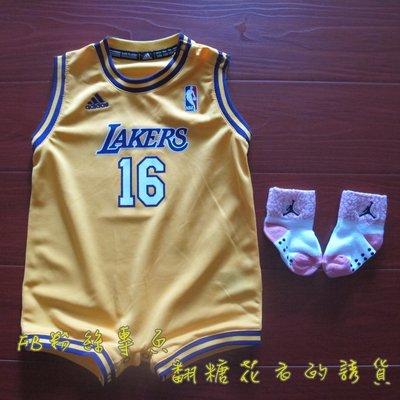美國NBA 官網正品 adidas 幼兒 兒童 寶寶 包屁球衣 保羅·蓋索 Pau Gasol 湖人隊 親子裝