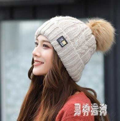 針織月子毛線帽子 女冬甜美可愛保暖帽套頭秋季加絨百搭 BF20215